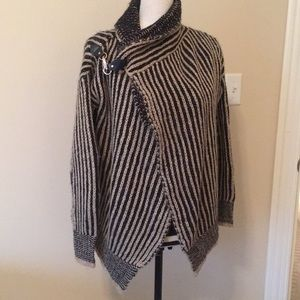 Black and Tan cable knit sweater jacket